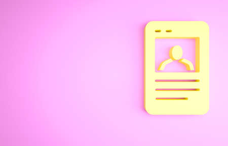 Yellow Baseball card icon isolated on pink background. Minimalism concept. 3d illustration 3D render