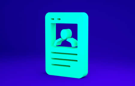 Green Baseball card icon isolated on blue background. Minimalism concept. 3d illustration 3D render