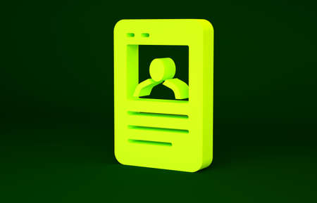 Yellow Baseball card icon isolated on green background. Minimalism concept. 3d illustration 3D render