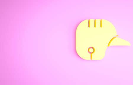 Yellow Baseball helmet icon isolated on pink background. Minimalism concept. 3d illustration 3D render Banco de Imagens