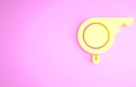 Yellow Whistle icon isolated on pink background. Referee symbol. Fitness and sport sign. Minimalism concept. 3d illustration 3D render