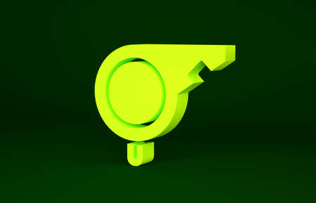 Yellow Whistle icon isolated on green background. Referee symbol. Fitness and sport sign. Minimalism concept. 3d illustration 3D render