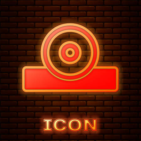 Glowing neon Otolaryngological head reflector icon isolated on brick wall background. Equipment for inspection the patients ear, throat and nose. Vector Vector Illustration