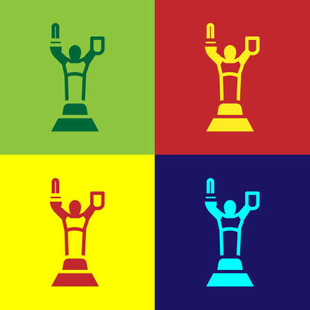 Pop art Mother Motherland monument in Kiev, Ukraine icon isolated on color background. Vector
