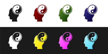 Set Yin Yang symbol of harmony and balance icon isolated on black and white background. Vector