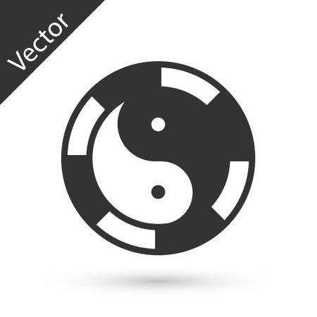 Grey Yin Yang symbol of harmony and balance icon isolated on white background. Vector