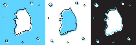 Set South Korea map icon isolated on blue and white, black background. Vector