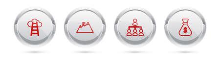 Set line Stair, Mountains, Hierarchy organogram chart and Money bag. Silver circle button. Vector Ilustração Vetorial