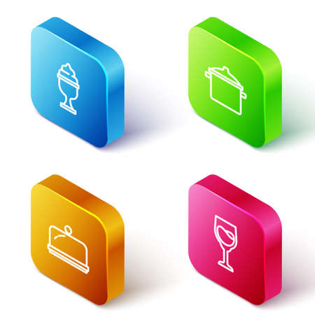Set Isometric line Ice cream in bowl, Cooking pot, Covered with tray and Wine glass icon. Vector