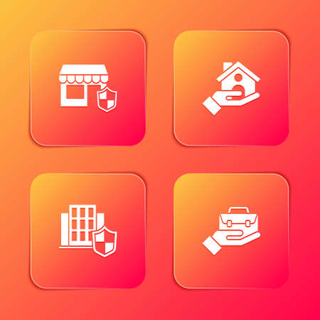 Set Shopping building with shield, House insurance, and Hand holding briefcase icon. Vector Vettoriali