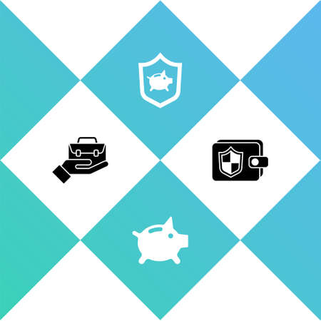 Set Hand holding briefcase, Piggy bank, Piggy bank with shield and Wallet icon. Vector