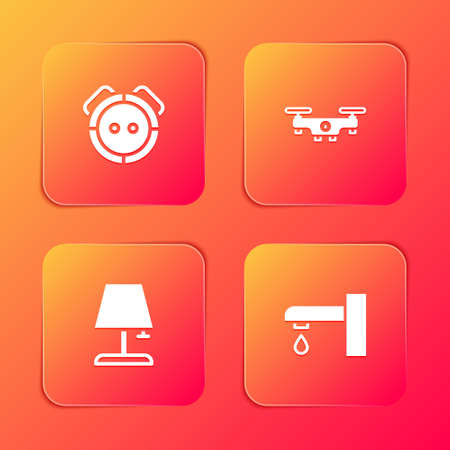 Set Robot vacuum cleaner, Drone flying, Table lamp and Water tap icon. Vector