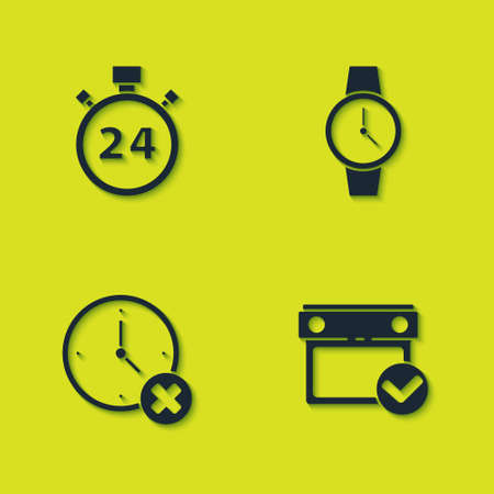 Set Stopwatch 24 hours, Calendar with check mark, Clock delete and Wrist icon. Vector