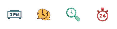 Set Digital alarm clock, Clock speech bubble, Magnifying glass and Stopwatch 24 hours icon. Vector