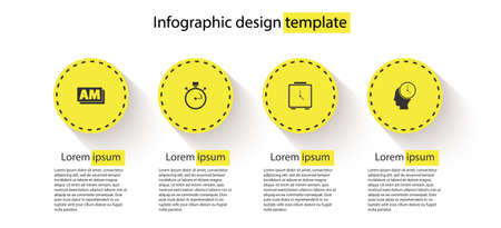 Set Clock AM, Stopwatch, Alarm clock and Time Management. Business infographic template. Vector Vettoriali