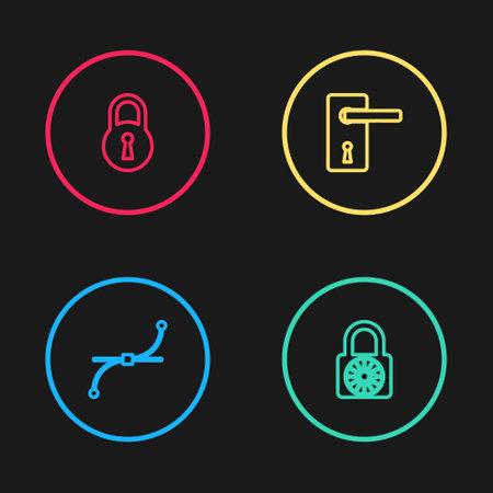 Set line Bezier curve, Safe combination lock wheel, Door handle and Lock icon. Vector Vettoriali