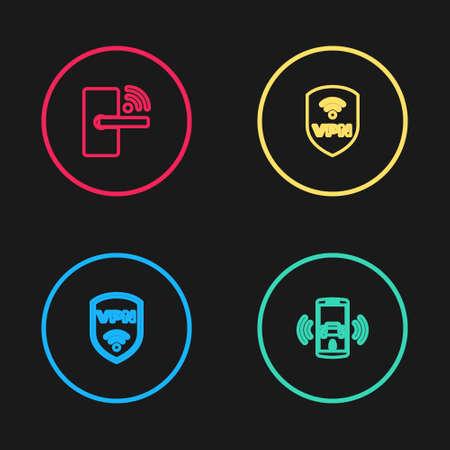 Set line Shield with VPN wireless, Smart car alarm system, and Digital door lock icon. Vector