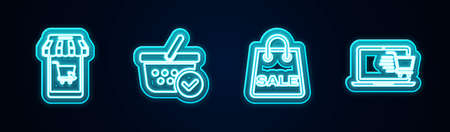 Set line Mobile and shopping cart, Shopping basket with check mark, bag Sale and cart on laptop. Glowing neon icon. Vector Vettoriali