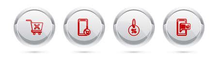 Set line Remove shopping cart, Mobile, Discount percent tag and basket. Silver circle button. Vector