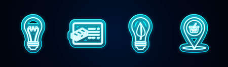 Set line Light bulb, Financial document, Light with leaf and Location shopping basket. Glowing neon icon. Vector