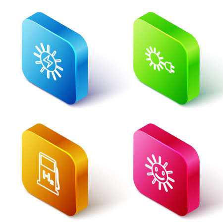 Set Isometric line Solar energy panel, Sun with electric plug, Hydrogen filling station and Cute sun smile icon. Vector
