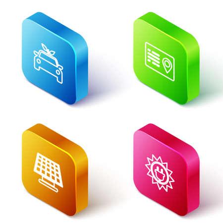 Set Isometric line Eco car concept drive, Address book, Solar energy panel icon. Vector Vettoriali
