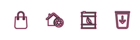 Set line Shopping bag, Bio fuel barrel, Eco House with recycling and Send to the trash icon. Vector