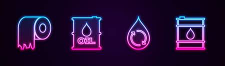 Set line Toilet paper roll, Oil barrel, Recycle clean aqua. Glowing neon icon. Vector