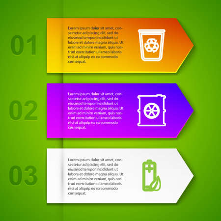 Set line Recycle bin with recycle, Radioactive waste barrel, Eco nature leaf and battery and Toilet paper roll. Business infographic template. Vector Vettoriali
