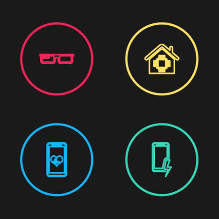 Set line Mobile with heart rate, charging battery, Smart home and glasses icon. Vector