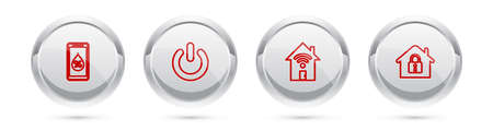 Set line Humidity for smart home, Power button, Smart house with wifi and House under protection. Silver circle button. Vector