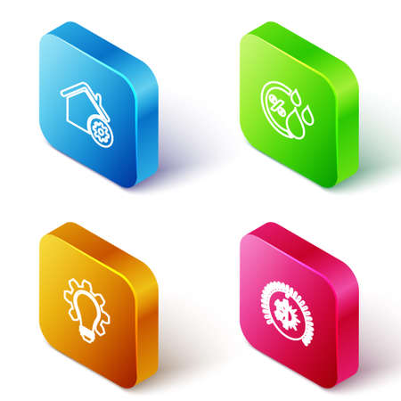 Set Isometric line Smart home settings, Humidity, Light bulb and gear and Thermostat icon. Vector Vettoriali