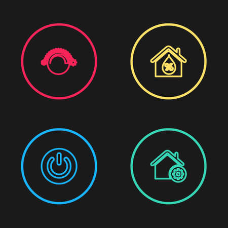 Set line Power button, Smart home settings, House humidity and Thermostat icon. Vector