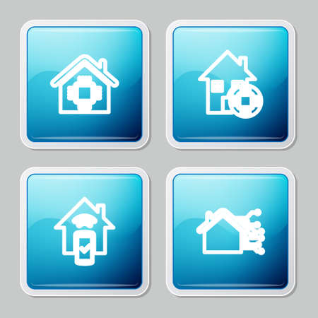 Set line Smart home and remote control system icon. Vector Vettoriali