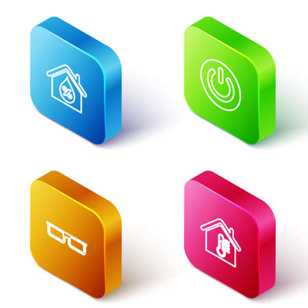 Set Isometric line House humidity, Power button, Glasses and temperature icon. Vector Vettoriali
