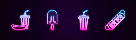 Set line Soda and hotdog, Ice cream, Glass with water. Glowing neon icon. Vector Vettoriali