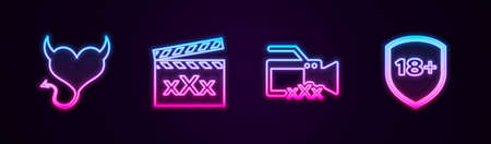 Set line Devil heart with horns, Movie clapper Sex, Video camera and Shield 18 plus. Glowing neon icon. Vector
