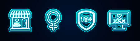 Set line Sex shop building, Female gender symbol, Shield with 18 plus and Monitor content. Glowing neon icon. Vector