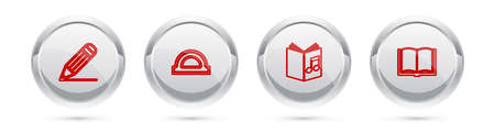 Set line Pencil and line, Protractor grid, Audio book and Open. Silver circle button. Vector