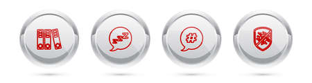 Set line Office folders, Speech bubble with snoring, Hashtag speech and Stop virus, bacteria. Silver circle button. Vector