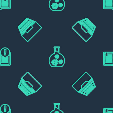 Set line Test tube with virus, Drawer documents and Interesting facts on seamless pattern. Vector