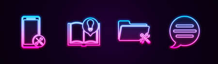 Set line Mobile service, Interesting facts, Folder and Speech bubble chat. Glowing neon icon. Vector Vettoriali
