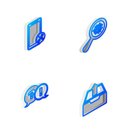 Set Isometric line Microorganisms under magnifier, Mobile service, Question and Exclamation and Upload inbox icon. Vector