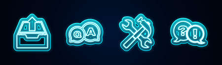 Set line Upload inbox, Question and Answer, Crossed hammer wrench and Exclamation. Glowing neon icon. Vector
