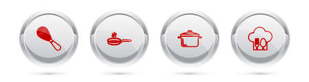 Set line Kitchen whisk, Frying pan, Cooking pot and Chef hat with fork and spoon. Silver circle button. Vector