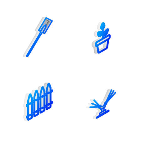 Set Isometric line Flowers in pot, Garden shovel, fence and Automatic irrigation sprinklers icon. Vector