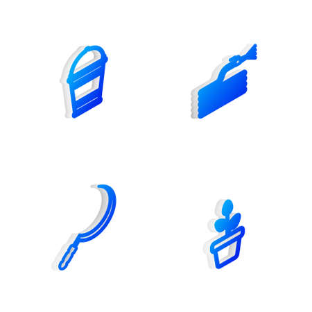 Set Isometric line Garden hose or fire hose, Bucket, Sickle and Flowers in pot icon. Vector Vettoriali
