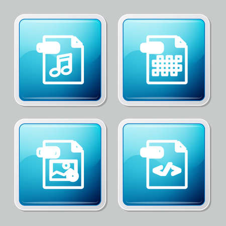 Set line WAV file document, PNG, GIF and HTML icon. Vector