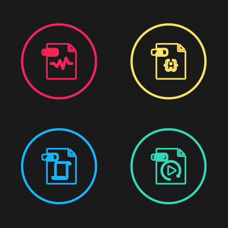 Set line JS file document, GIF, and MP3 icon. Vector