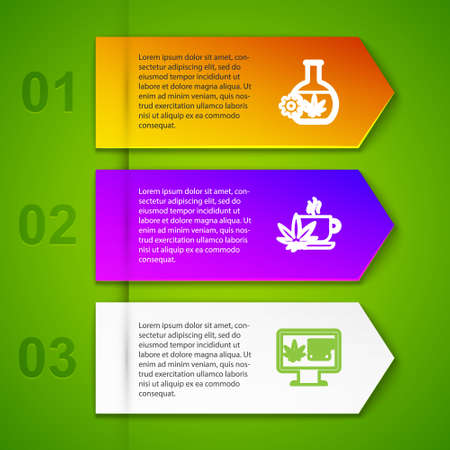 Set line Test tube with marijuana, Cup tea, Online buying and Marijuana or cannabis leaf. Business infographic template. Vector